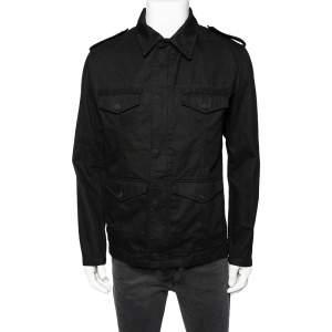 Saint Laurent Black Cotton Embellished Military Jacket M
