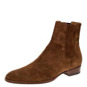 Saint Laurent Paris Brown Suede Wyatt Chelsea Ankle Boots Size 46