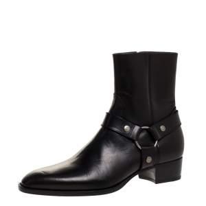 Saint Laurent Black Leather Harness Ankle Boots Size 42