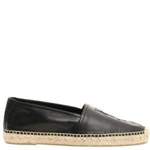 Saint Laurent Black Leather Monogram Espadrilles Size IT 42