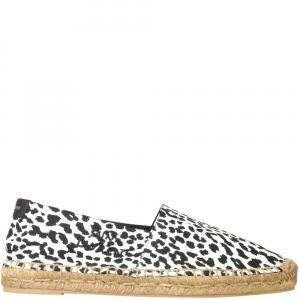 Saint Laurent White/Black Leopard Print Espadrillas Size IT 42