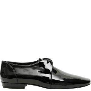 Saint Laurent Black Patent Leather Yves Lace-Ups Size EU 44