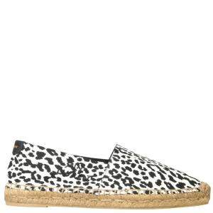 Saint Laurent White/Black Baby Cat Print Espadrillas  Size IT 40.5