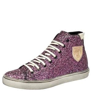 Saint Laurent Purple Glitter High Top Sneakers Size 40