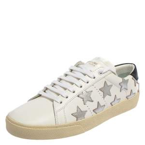 Saint Laurent White Leather Star Patch Low Top Sneakers Size 39.5