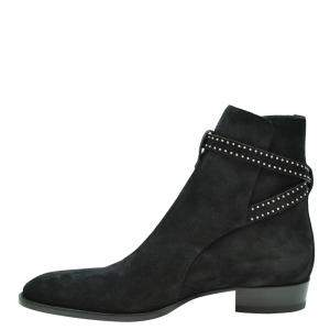 Saint Laurent Paris Black Suede Studded Boots Size EU 44
