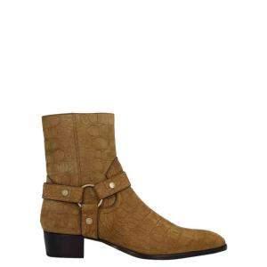 Saint Laurent Paris Brown embossed Leather ankle Boots Size EU 43