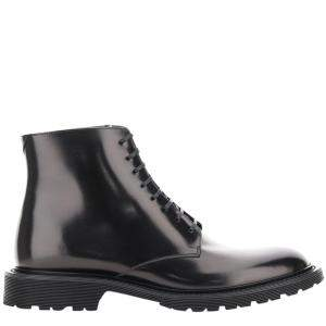 Saint Laurent Paris Black Leather Army Lace-Up Boots Size IT 41