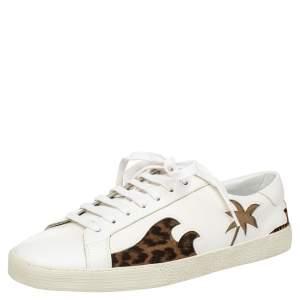 حذاء رياضي سان لوران بالم تري جلد أبيض بعنق منخفض مقاس 41