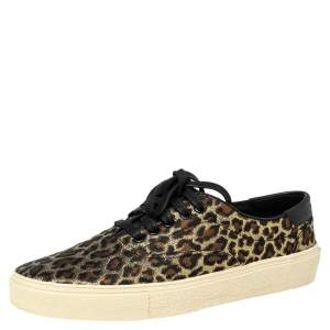 Saint Laurent Metallic Tri Color Leopard Print Fabric Low Top Sneakers Size 41