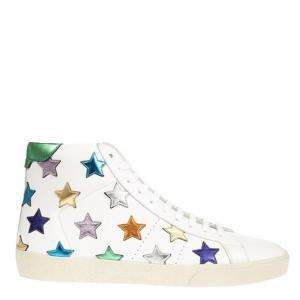 Saint Laurent Paris White/Multicolor Leather Court Classic High Top Sneaker Size EU 43.5
