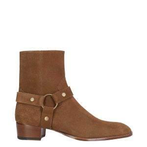 Saint Laurent Brown Suede Wyatt Harness Boots Size IT 41