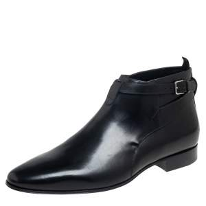 Saint Laurent Black Leather Army Ankle Boots Size 43.5