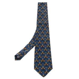 ربطة عنق إيف سان لوران فينتاج تراديشنال حرير بطبعة زهور زرقاء