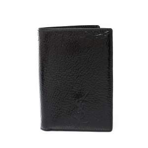 Saint Laurent Paris Black Patent Leather Bifold Wallet