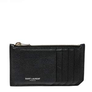 Saint Laurent Paris Black Leather Zip Card Holder