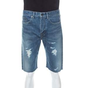 Saint Laurent Paris Distressed Denim Capri Shorts M