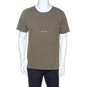 Saint Laurent Paris Sage Green Cotton Destroyed Archive T-Shirt M