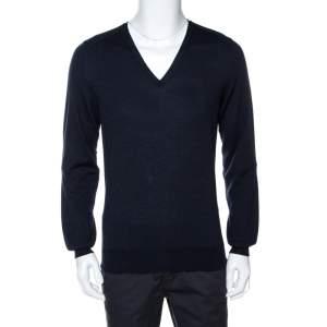 Saint Laurent Paris Navy Blue Wool V Neck Sweater XL