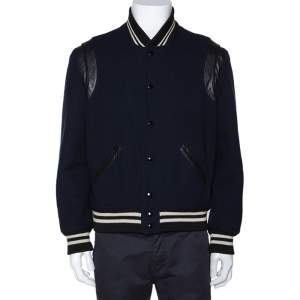 Saint Laurent Black Wool Leather Trim Teddy Jacket L