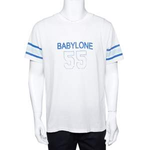 Saint Laurent Paris White Babylone 55 Print Cotton Distressed T-Shirt M