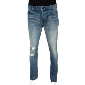 Saint Laurent Paris Blue Light Wash Distressed Denim Jeans M