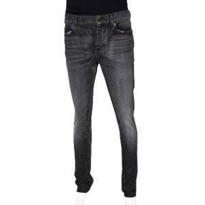 Saint Laurent Paris Charcoal Grey Medium Wash Denim Raw Edge Jeans M