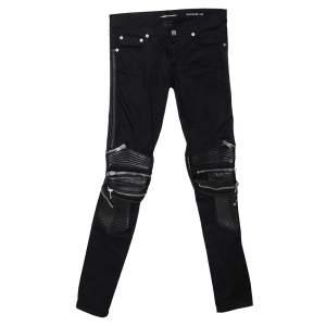 Saint Laurent Paris Black Denim Biker Jeans XS
