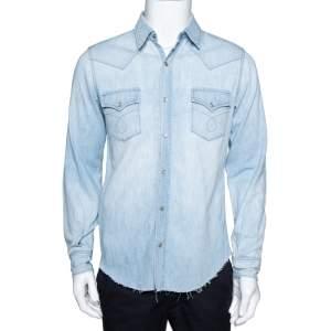 Saint Laurent Paris Light Blue Denim Frayed Hem Shirt M