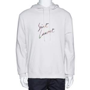 Saint Laurent Paris Washed Out Ecru Distressed Knit Animalier Signature Print Hoodie L