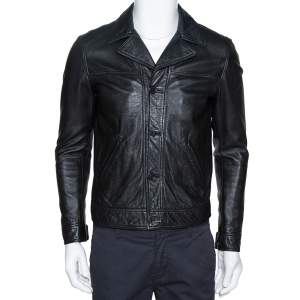 Saint Laurent Paris Black Leather Flight Jacket M