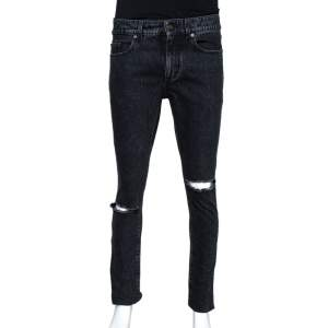 Saint Laurent Paris Black Stonewashed Denim Skinny Trash Jeans M