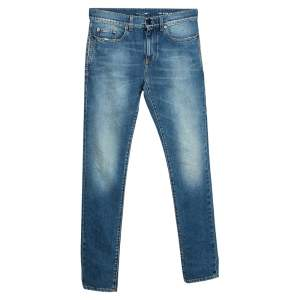 Saint Laurent Paris Indigo Faded Effect Denim Skinny Jeans S