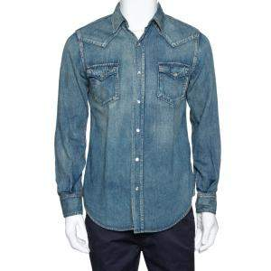 Saint Laurent Paris Blue Dark Wash Denim Button Front Shirt M