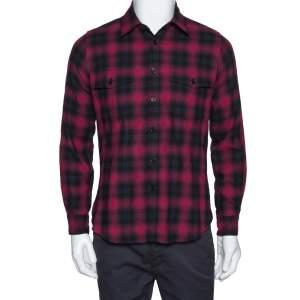 Saint Laurent Paris Red & Black Tartan Plaid Cotton Shirt S
