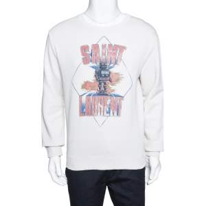 Saint Laurent Paris Ecru Robot Aged Print Distressed Sweatshirt S