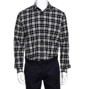 Saint Laurent Paris Monochrome Checked Cotton & Wool Distressed Shirt M