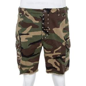 Saint Laurent Paris Green Camouflage Cotton Studded Shorts M
