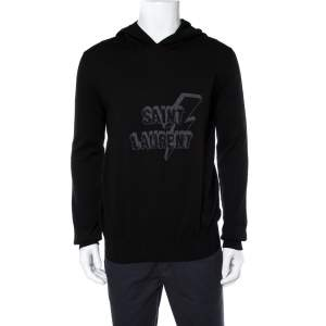 Saint Laurent Paris Black Lightning Bolt Hooded Jumper XL