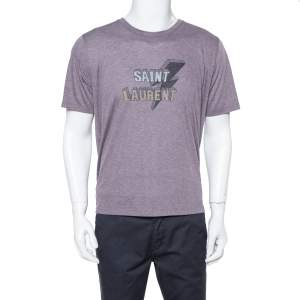 Saint Laurent Paris Purple Thunder Logo Printed Knit T Shirt L