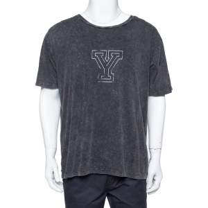 Saint Laurent Paris Black Y Printed Cotton Washed Out Effect T Shirt L