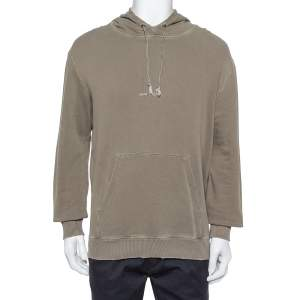 Saint Laurent Paris Khaki Cotton Distressed Washed Out Effect Hoodie M