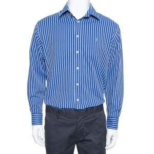 Yves Saint Laurent Navy Blue Striped Cotton Custom Fit Shirt M