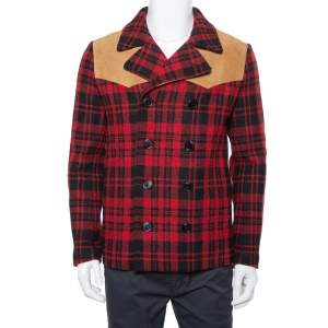 Saint Laurent Paris Red & Black Tartan Plaid Wool & Leather Caban Coat S