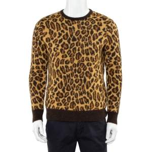 Saint Laurent Paris Beige Leopard Print Mohair Wool Crewneck Sweater M