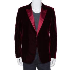 Saint Laurent Paris Burgundy Velvet Iconic le Smoking Blazer XL