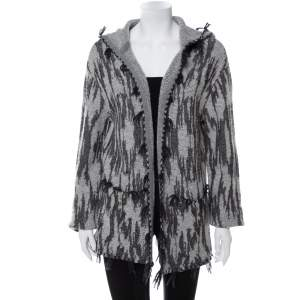 Saint Laurent Paris Grey Ikat Motif Patterned Wool & Linen Hooded Baja Cardigan M