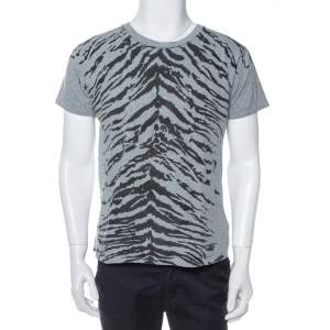 Saint Laurent Paris Grey Tiger Printed Cotton Crewneck T-Shirt M