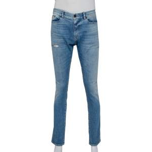 Saint Laurent Paris Blue Faded Denim Distressed Jeans L