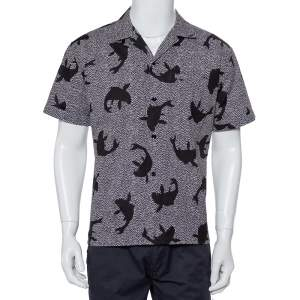 Saint Laurent Paris Black Dolphin Printed Cotton Bowling Shirt L